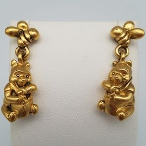 Disney Winnie the Pooh VTG Bee Gold Earrings